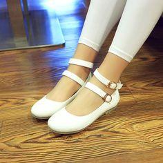 Women Flats Double Buckles Ballet Shoes  3684