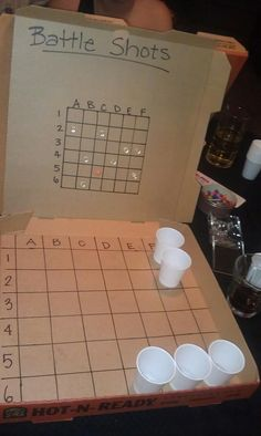 Made Battle Shots for bday pre-gaming at the apartment. So fun! Pizza boxes, markers, push pins and shot glasses (we used small plastic cups.)