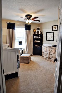 Boy nursery: striped walls, we'll definitely be doing one striped wall in baby boy's room.
