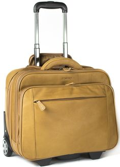 Cortez Colombian Leather Executive Laptop Cabin Trolley, Removable Laptop Sleeve (Tan): Amazon.co.uk: Luggage £234.99