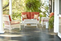 Comfortable furniture invites lounging and lingering on the porch or patio. love the coral. Wood Patio Furniture, Outdoor Lounge Furniture, Outdoor Rooms, Outdoor Living, Outdoor Decor, Outdoor Kitchens, Outdoor Stuff, Patio Design, House Design