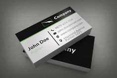 28 best free business cards templates images on pinterest free clean corporate business card template on black and white background with green elements this template wajeb Image collections