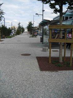 Pavimento de árido visto en acera