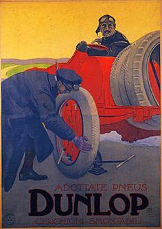 """Anno: 1908 Soggetto: """"Adottate pneus Dunlop,cerchioni smontabili"""" Stampa Ricordi, Milano Poster Vintage"""