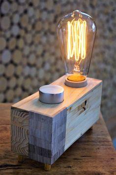Lampe de bois scandinave moderne gradateur à intensité