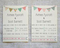 Vintage Bunting Wedding Invitation