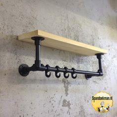 "Steigerbuis Kapstok wandmodel 3 ""Standaard"" met houten plank Zwart 26,9mm - Spandoekman"