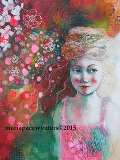 """Maria Pace-Wynters - Painting Pink Blossoms;9""""x12"""" mixed media painting on wood. The sides are 1.5"""" deep and are painted turquoise."""