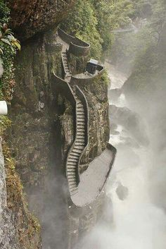 Dangerous path at Pailón del Diablo waterfall in Ecuador -- i've walked these very steps, steep and slippery.one of my most fond memories of biking La Ruta de las Cascadas to this final waterfall - Baños, Ecuador Places Around The World, Oh The Places You'll Go, Places To Travel, Places To Visit, Around The Worlds, Travel Destinations, Vacation Places, Dream Vacations, Beautiful World
