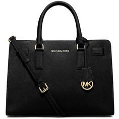 Michael Michael Kors Dillon Leather Satchel Bag ($298) ❤ liked on Polyvore featuring bags, handbags, black, leather satchel, satchel purse, black leather purse, black satchel handbag and real leather handbags