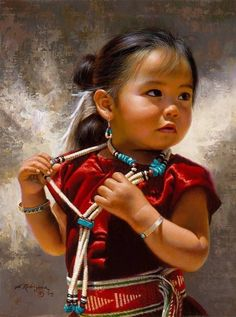 Alfredo Rodriguez (AMERICAN INDIAN ART) This painting is beautiful, capturing the innocence of the Native American child. It's almost like the child could walk out of the painting. Native American Children, Native American Art, American Indians, Native Child, American History, Precious Children, Beautiful Children, Beautiful People, Beautiful Babies