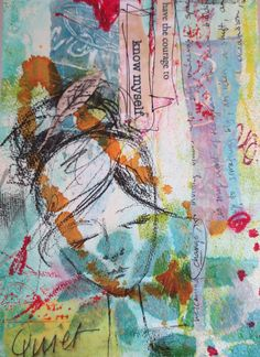 ginger deverell- Enduring Idea- Dreams and mixed media collage self portrait.