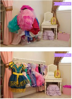 The same trick also works for princess dresses. | 40 Smart Tricks To Keep Your Kids Organized