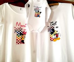 "Handmade by Do : Hand painted family set T-shirts ""Mickey Mouse"" - . Greek Pattern, Ceramic Angels, Family Set, Flower Stands, 8th Of March, Mickey Mouse, Textiles, Hand Painted, T Shirt"