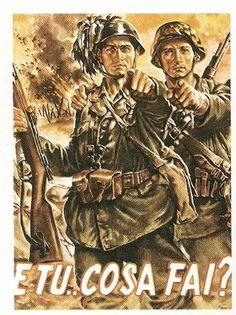 Italia. II Guerra Mundial. Cartel de reclutamiento de la República de Saló.