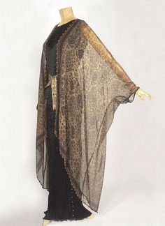 Pleated Delphos gown and hand stencilled silk wrap - 1920