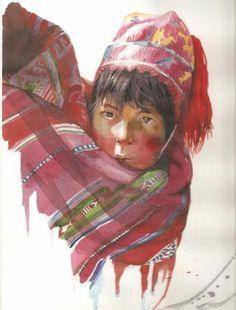 Peru , acuarelas , cuadro, niños peruanos - artesanum com