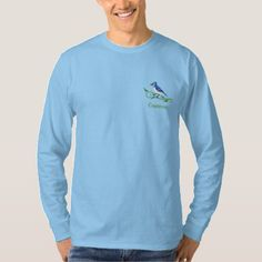 Blue Jay Name Embroidered Long Sleeve T-Shirt - animal gift ideas animals and pets diy customize