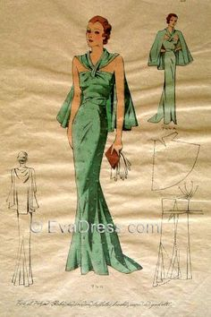 633f542f395 1930 s Dinner Gown  amp  Cape Pattern by EvaDress Fashion Illustration  Vintage