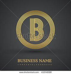 Elegant gold letter symbol. Letter B logo design. Vector logo design template elements  for company identity. - stock vector