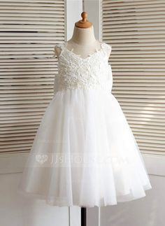 [US$ 58.69] A-Line/Princess Knee-length Flower Girl Dress - Tulle Straps With Appliques/Bow(s)/V Back (010091216)