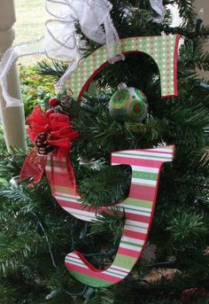 Letter G Christmas decoration by HillTopDesignsToo on Etsy, $15.00