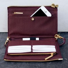 Dagne Dover | Oxblood Clutch Wallet Handbags Wallets -