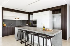 Stunning Quartz stone benchtop on this kitchen island designed and built by Urbane Projects, Perth.