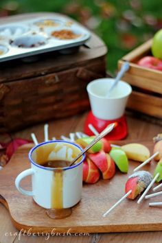 If you are looking for DIY fall wedding ideas, having a Delicious Caramel Apple Bar instead of a wedding dessert table is a budget friendly and easy option. It is very unique and your guests will love the opportunity to personalize their desserts. Caramel Apple Bars, Caramel Apples, Apple Recipes, Fall Recipes, Fruit Recipes, Scones, Fondue, Fall Harvest Party, Fall Drinks