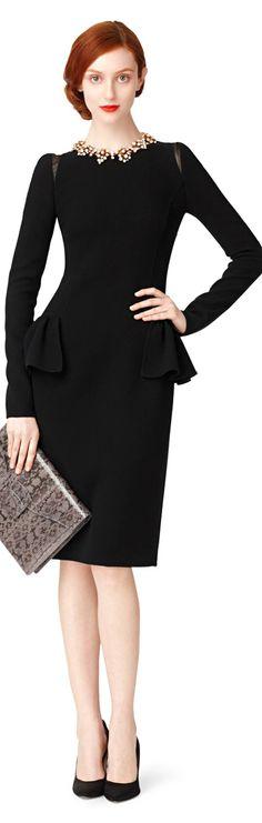 Oscar de la Renta ● Fall 2013, Black dress with peplum
