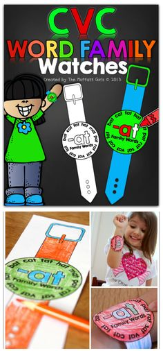 CVC Word Family Watches!  WEARable words watches that work with the most common 28 CVC word families!! HOW FUN!