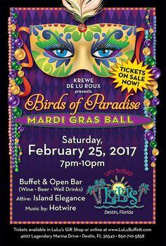 Announcing Birds Of Paradise Mardi Gras Ball at Lulu's Destin, Feb. Southern Food, Southern Recipes, Coast Restaurant, Wine And Beer, Mardi Gras, Food Inspiration, Festivals, Restaurants, Costume