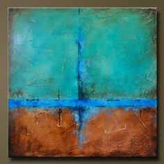Copper Falls 2- 30 x 30 - Abstract Acrylic Painting - Huge Contemporary Wall Art via Etsy