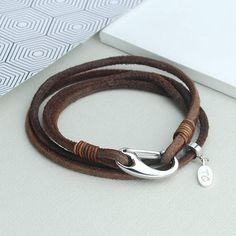 Personalised Men's Suede Double Wrap Bracelet Men's