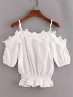 Lace Trimmed Cold Shoulder Peplum Top - White (inspiration)