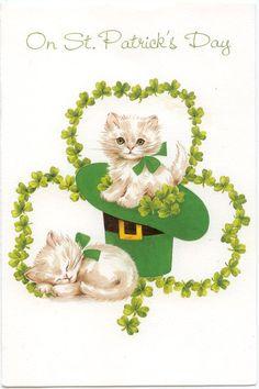 St Patrick's Day Kitten greeting card