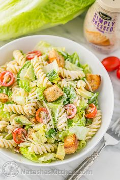 This dish is half salad, half pasta but 100% perfect with Marzetti Simply Dressed Caesar Dressing. Big hunks of avocado, tomato, pasta and romaine work in harmony to fill you up with deliciousness.