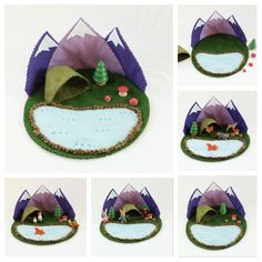 Lila Mountain Cave Lake Playscape spielen Mat von MyBigWorld2015