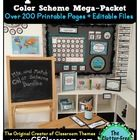 AQUA CHEVRON Classroom Color Scheme / Theme EDITABLE (33 Product Bundle)