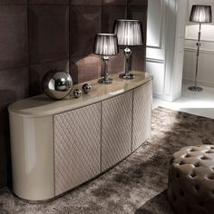 Designer Curved Lacquered Leather Sideboard