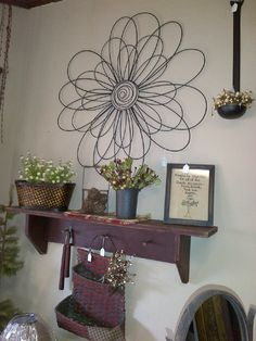 Wire Flower and Painted Pine Coat Rack