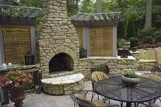 Rock Fireplace, Arched Firebox Outdoor Fireplace Outdoor Design Build Cincinnati, OH