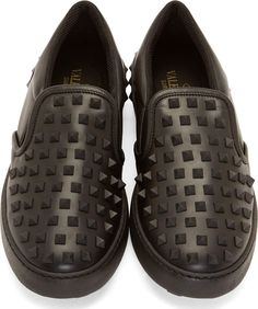 Valentino Black Leather Studded Slip-On Sneakers