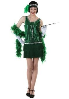 St. Patrick's Day Outfit - Sequin & Fringe Green Flapper Costume