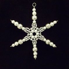 Snowflake Ornament - White Pearl and Silver - Christmas Ornaments - Beaded Ornaments - Holiday Decorations. 4.5