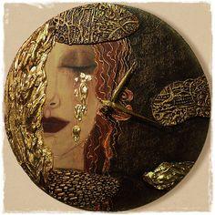"Часы настенные "" Golden tears"" | Для дома - авторская работа на Uniqhand"