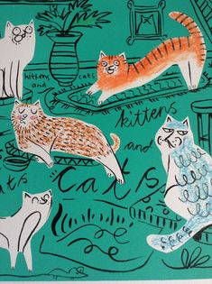 Draw Cats Detail of Cats and Kittens by Katie Stone. Screenprint, ink and pencil. Graphic Design Illustration, Illustration Art, Grunge Art, Cat Drawing, Sketchbook Inspiration, Crazy Cats, Cat Art, Cats And Kittens, Cute Cats