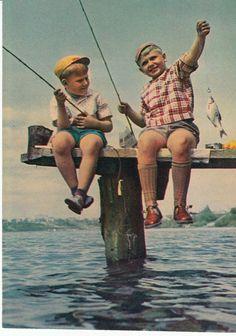 Vintage Soviet life postcard  fishing