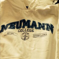 $10 college hoodies Neumann College pullover  and no stains or damage.  Haven't worn in a few years and must go.  No perfume/no smoker.  Great for chilly summer nights and cold winter days.  Comfy!  Medium and fits easily over long sleeves.  Never been put in dryer only line dried so it is a true size. Jackets & Coats