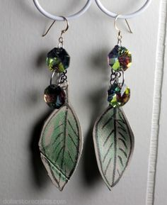 Leather leaf earrings made with an old leather handbag and Stained by Sharpie fabric markers